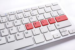 Computer button with sale sign. Computer keyboard with sale word. Internet marketing concept Stock Photo
