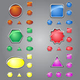 Computer buttons. The buttons of different shapes and colors for websites Stock Photos