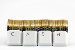 Computer buttons Cash. Cash formed by keys of a computer keyboard, isolated on white Royalty Free Stock Image