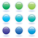 Computer Buttons in Cool Colors Stock Photos