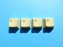 Computer buttons form a EOBD End of business day abbreviation. Computer and internet slang royalty free stock photos