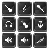 Computer buttons music. Isolated on a white background Royalty Free Stock Photo