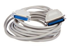 Computer cable with 25 pin connector Stock Photos