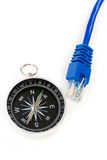 Computer cable and Compass Royalty Free Stock Image