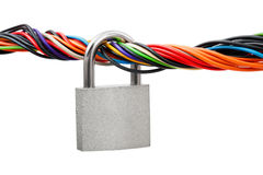 Computer cable and lock Royalty Free Stock Photography