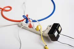 Computer Cables on Extension Cord Stock Photos