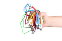 Computer cables in hand isolated Royalty Free Stock Image