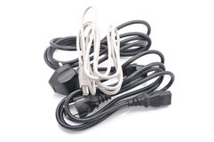 Computer Cables Over White Background Stock Image
