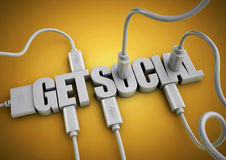 Computer cables and plugs attach to 3d text title get social. Stock Image