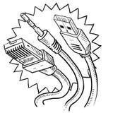 Computer cables sketch Stock Photos