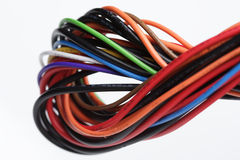 Computer cables on white background Stock Photo