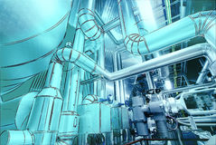 Computer cad design of pipelines for modern industrial power pla Stock Photography