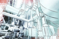 computer cad design of pipelines for modern industrial power plant royalty free stock image