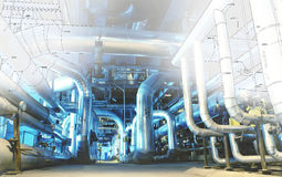 Computer cad design of pipelines modern industrial power pla Royalty Free Stock Image