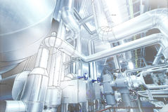 Computer cad design of pipelines modern industrial power pla Stock Photography