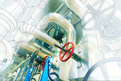 Computer cad design of pipelines of modern industrial power pla Stock Photography