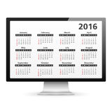 Computer with 2016 Calendar Royalty Free Stock Image