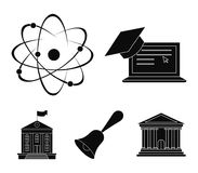 Computer, cap, atom, nucleus, bell, university building. School set collection icons in black style vector symbol stock. Illustration Stock Photography