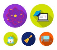 Computer, cap, atom, nucleus, bell, university building. School set collection icons in flat style vector symbol stock. Illustration Stock Image