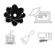 Computer, cap, atom, nucleus, bell, university building. School set collection icons in outline style vector symbol. Stock illustration Stock Photography