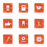 Computer care icons set, grunge style. Computer care icons set. Grunge set of 9 computer care vector icons for web isolated on white background Stock Photos