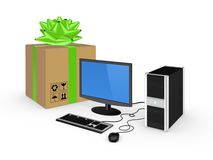 Computer and carton box. Royalty Free Stock Image