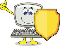 Computer cartoon with shield Royalty Free Stock Photo