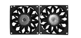 Computer case cooling fans isolated on white background Royalty Free Stock Images