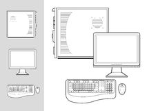 Computer with case, keyboard, mouse and monitor. Black and white illustration of desktop computer with keyboard, mouse, monitor and case Stock Photos