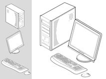 Computer with case, keyboard, mouse and monitor. Black and white illustration of desktop computer with keyboard, mouse, monitor and case Royalty Free Stock Photos