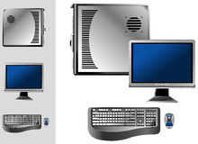 Computer with case, keyboard, mouse and monitor. Illustration of desktop computer with keyboard, mouse, monitor and case Stock Image