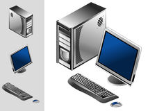 Computer with case, keyboard, mouse and monitor. Illustration of desktop computer with keyboard, mouse, monitor and case Royalty Free Stock Photo