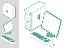 Computer with case, keyboard, mouse and monitor vector illustration