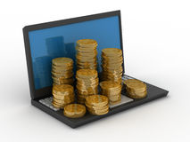 Computer and cashes Royalty Free Stock Photos