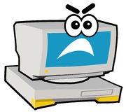 Computer Character - Mad. Cartoon character of computer or PC stock illustration