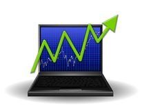 Computer Chart Gaining Profits. An illustration featuring a computer laptop with a graph on the front and a big green arrow pointing upward to represent sales Royalty Free Stock Photography