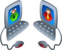 Computer chat. Two men communicating via their computers - icon people series Royalty Free Stock Photography