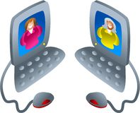 Computer chat. Two women communicating via computers - icon people series Stock Photo