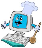 Computer chef with spoon Royalty Free Stock Images