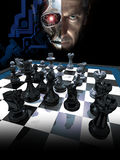 Computer chess. Half face of a robot and  half face of a man, above a chessboard Royalty Free Stock Images
