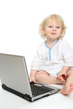 Computer and child Stock Image