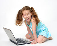 Computer and child royalty free stock image