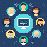 Computer and Children Faces. Group Project Flat Illustration Stock Photos