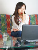 Computer Chinese girl Stock Photography