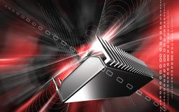 Computer chip. Digital illustration of a computer chip in colour background stock illustration