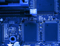 The computer chip. (fragment motherboard Royalty Free Stock Photo