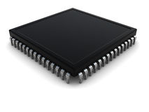Computer chip. 3d illustration of electronic chip over white background Stock Images