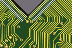 Computer chip. On a green electronic background vector illustration