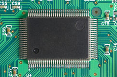 Computer chip. On circuit board in green Stock Photography