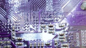 Computer chip close-up. Selective focus abstraction technology motherboard stock footage
